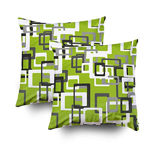 Capsceoll 2PCS Bright Green Retro Print Decorative Throw Pillow Case 18X18Inch,Home Decoration Pillowcase Zippered Pillow Covers Cushion Cover with Words for Book Lover Worm Sofa Couch