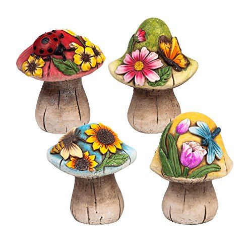 Spring Garden Decorative Mushroom Sculptures, Set of 4 (Stone Garden Gnome)