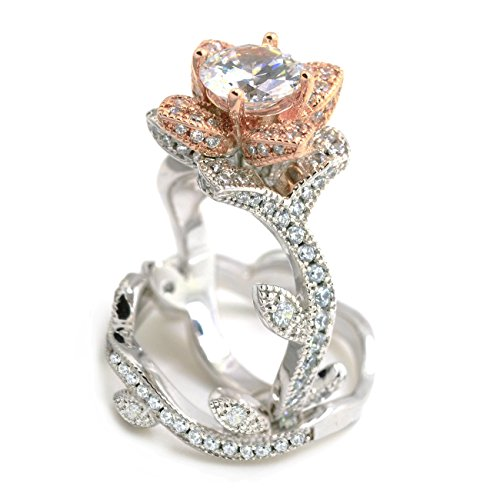 Sparkly Bride CZ Vintage Engagement Wedding Ring Set Lotus Flower Rose Gold Plated Two-tone Women size 7