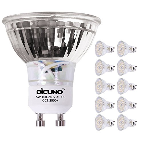 DiCUNO GU10 LED Bulbs 5W Warm White, 3000K, 500lm, 120 Degree Beam Angle, Spotlight, 50W Halogen Bulbs Equivalent, Non-dimmable MR16 LED Light Bulbs, 10-Pack