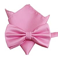 Startby Men's Solid Formal Banded Bow Tie and Pocket Square Set