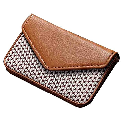 Hinged Flash Attachment (YJYdada Leather Business Name Card Holder Case Wallet Credit Book with Magnetic Shut (Brown))