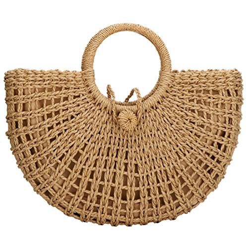 Hand-woven Straw Large Hobo Bag for Women Round Handle Ring Toto Retro Summer Beach Straw Bag (Brown Zipper Closure)