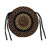 IHF Home Decor Braided Jute Rug 15'' Round Chair Cover Seat Pad Set of 4 New Blackberry Design Jute Fabric
