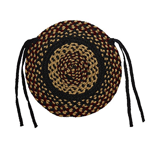 IHF Home Decor Braided Area Rug | Chair Cover Pad Round | BlackBerry | 100% Natural Jute Material Fiber Rugs 15