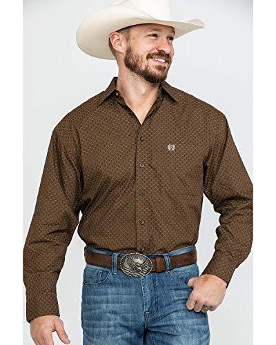 (Panhandle Men's Peached Poplin Print Shirt - 36D7718 (X-Large) Brown )
