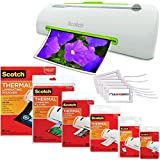 Scotch Pro Thermal Laminator, 2 Roller System, 16.06 x 4.25 x 4.96 Inches Combo Pack with 110 Assorted Pouch Sizes & Scotch Brand Luggage Tags