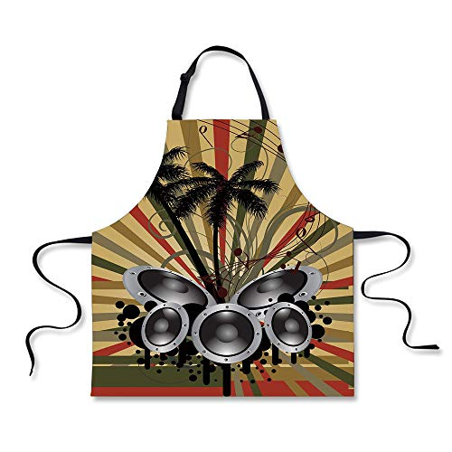 Cooking Apron,Modern,Palm Trees Striped Ombre Backdrop Music