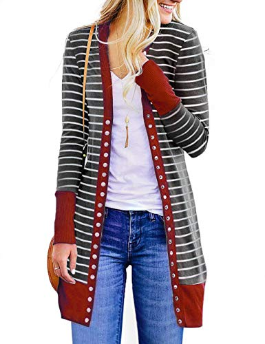 Lightweight Striped Sweater - RichCoco Women's Striped Button Down Open Front Long Sleeve Contrast Color Casual Cardigans Sweaters (WineRed Long, XL)