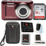 Kodak PIXPRO Friendly Zoom FZ53 (Red) with Sandisk16GB SD Cards, Spare Battery, Case Bundle