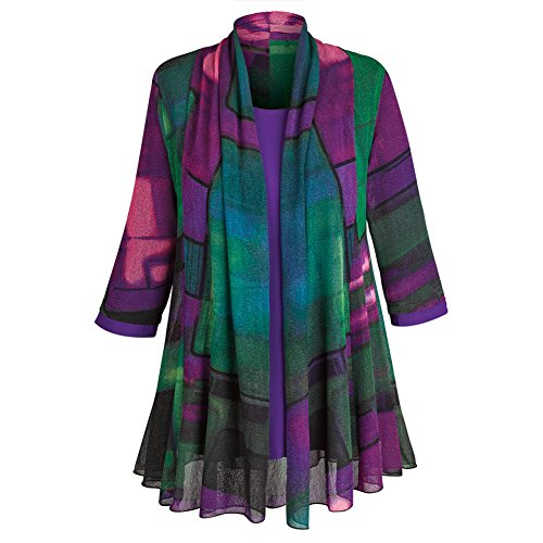 [Women's Tunic Jacket - Purple Paradise Open Front Cardigan And Top - 2X] (Plus Size Evening Wear)