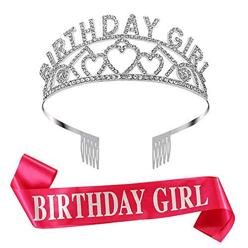 PORTOWN Birthday Girl Tiara Glitter Crown Rhinestone Crystal Decor Headband with Birthday Girl Sash Birthday Party Supplies(Rose Red) (Band Rhinestone Decor)