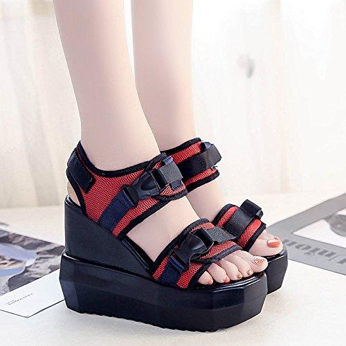RUGAI-UE Sandalias de tacón alto verano estudiantil Waterpronon deslizamiento cuesta abajo gruesos zapatos de mujer Gules