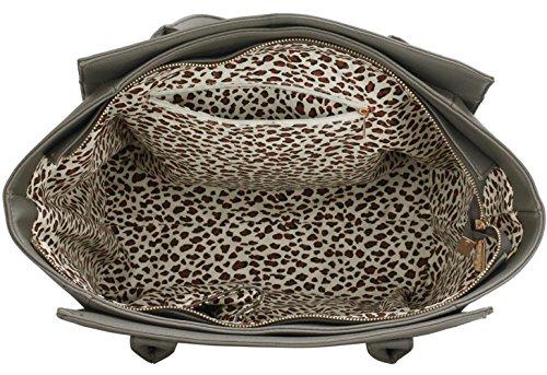LeahWard® Damen Schulter Handtasche Damen Mode Qualität Tragetasche mit Metal Zubehör Essener Berühmtheit Qualität Kunstleder Taschen CWS00417 (CWS00417 Grau)