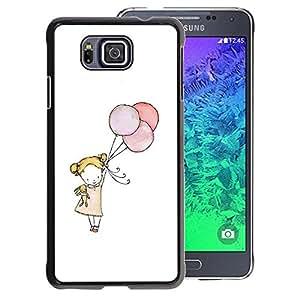 A-type Arte & diseño plástico duro Fundas Cover Cubre Hard Case Cover para Samsung ALPHA G850 (Little Girl Balloon Art White Mother Mom)