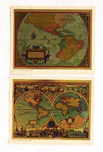 Vintage 1982 Antique Renaissance Color Foil Etch Maps Two Print Set