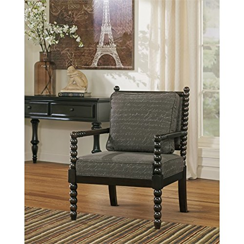 Ashley Furniture Signature Design   Milari Accent Chair   Hand Written Scrolling   Soft Linen Upholstery   Umber Brown
