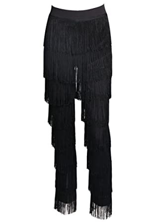 03391cc89 Miss ord Women Fashion Tassels Ballroom Latin Tango Salsa Practice  Performance Dance Pants Black XS