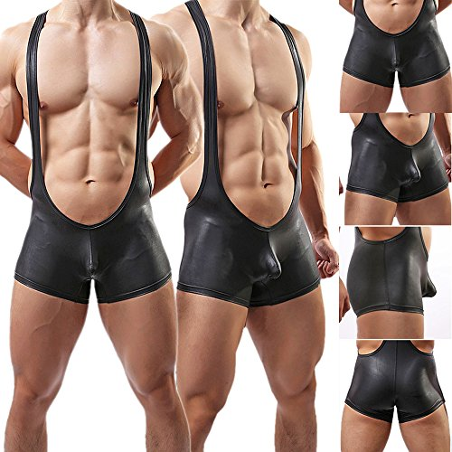Yeke Men Sexy Body Leotard Freestyle Wrestling Singlet Backless Smooth Bodysuit Black (L) by Yeke