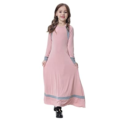 c928368a9 Hougood Muslim Dresses for Girls Kids Abaya Dresses Raglan Sleeve ...