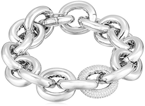 EDDIE BORGO One Pave Link Chain Silver Link Bracelet for sale  Delivered anywhere in USA