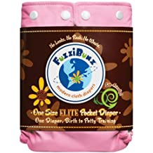 One Size Elite Fuzzibunz Cloth Diapers - 12 Pack -- with Free 10 Pack Wonder Wipes (Girl Colors)