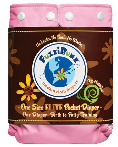 One Size Elite Fuzzibunz Cloth Diapers - 12 Pack - with Free 10 Pack Wonder Wipes (Girl Colors)
