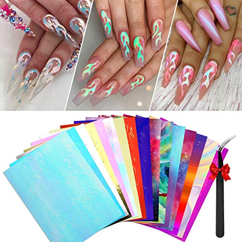 Modelones Flame Reflections Nail Stickers-16 PCS Fire Nail Decals for Gel Nail Polish Acrylic Powder Nail Art Holographic 3D Stickers with Tweezers Manicure Nail DIY Decoration.