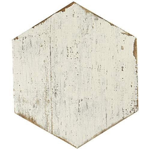SomerTile FNURTXBL Vintage Hex Porcelain Floor and Wall Tile, 14.125
