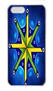 Blossom Design New Arrival PC Transparent Tough Hard Armor Case Cover Skin for Iphone 5S - Blue Green and Yellow