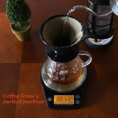 ERAVSOW Digital Hand Drip Coffee Scale Stainless steel precision sensors Kitchen Food Scale With Timer Weight LCD Display & Hanger Hole 6.6lb/3kg Black Batteries Include