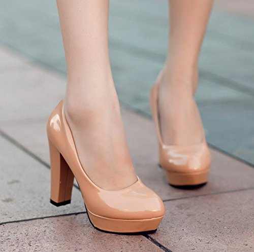 Solid thin Thick heeled round color Women's high head platform Waterproof shoes apricot xq7TwtXd