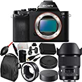 Sony Alpha a7S Mirrorless Digital Camera with 20mm f/1.4 DG HSM Art Lens for Canon EF & MC-11 Mount Converter/Lens Adapter (Sigma EF-Mount Lenses to Sony E) 13PC Accessory Kit. Includes Replacement FW-50 Battery + MORE