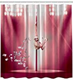Pink and Burgundy Shower Curtain Ambesonne Party for Adults Funny Animal Art Decor, Monkey Dancing on The Stripper Pole Dollars Striptease with Whiskey Bottle for Fun Fabric Shower Curtain, Burgundy Pink White Multicolored