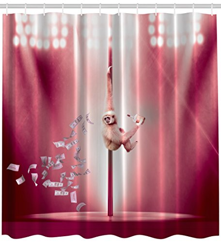 Party For Adults Funny Animal Art Decor By Ambesonne Monkey Dancing On The Stripper Pole