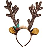 Amscan Sequined Antler Headband, Brown