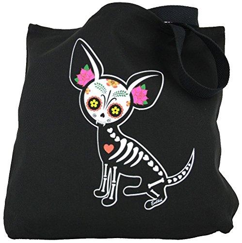 Yujean Evilkid Chihuahua Muerta Sugar Skull Skeleton Dog Cotton Tote Bag Black (Sugar Skull Cat)