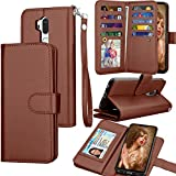 Tekcoo Compatible for LG G7 ThinQ Wallet Case/LG G7 2018 PU Leather Case, Luxury ID Cash Credit Card Slots Holder [Brown] Carrying Folio Flip Cover [Detachable Magnetic Case] & Kickstand For Sale