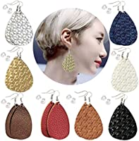 8 Pairs Leather Earrings Lightweight Leaf Dangle Earrings Teardrop Handmade Earrings for...