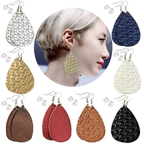 8 Pairs Leather Earrings Lightweight Leaf Dangle Earrings Teardrop Handmade Earrings for Women/Girls/Birthday/Anniversary/Valentine's Day Gift