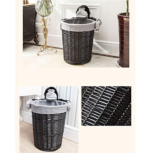 JSSFQK Rattan Storage Basket Cartoon Storage Basket, Dirty Clothes Toy Snack Storage, Black, Three Sizes Storage Box (Size : M) by JSSFQK (Image #4)