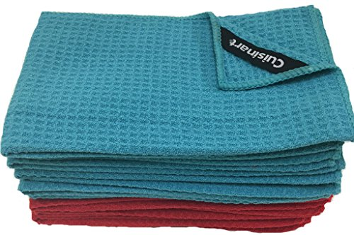 Cuisinart Microfiber Waffle Bar Mop Towels, 12 Pack, 16 x 19 Inches, Blue And Red
