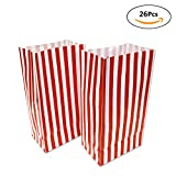 Popcorn Paper Bags for Kids - 26 Pack Red Stripe Party Bags for Filmfest Party, Birthday Party, Red Style , 10 x 5.25 x 3.25 inches by WEEPA