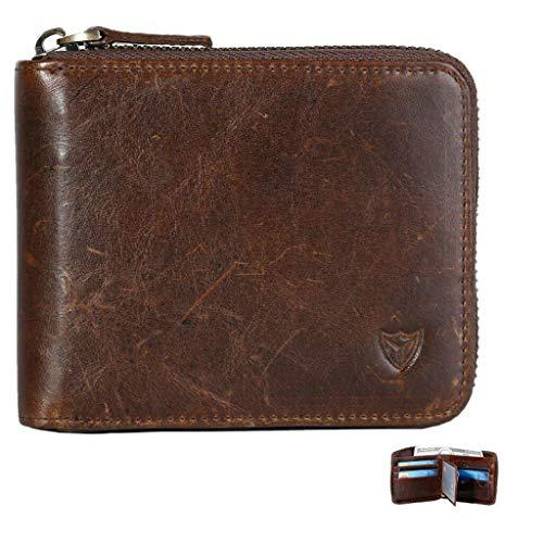 RFID Men's Leather Zipper wallet Zip Around Wallet Bifold Multi Card Holder Purse (Dark Coffee)