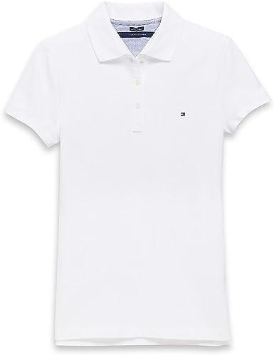 Tommy Hilfiger - Polo - para mujer Blanco blanco M: Amazon.es ...