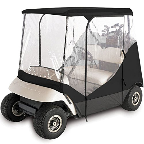 North East Harbor Waterproof Superior Black and Transparent Golf CART Cover Covers Enclosure Club CAR, EZGO, Yamaha, FITS Most Two-Person Golf CARTS