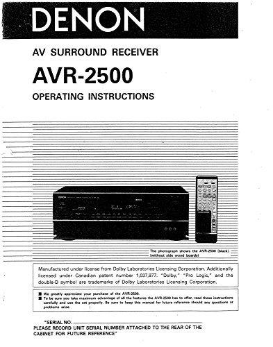 Denon AVR-2500 Receiver Amplifier Owners Manual [Plastic Comb] [Jan 01, 1900]... [Plastic Comb]