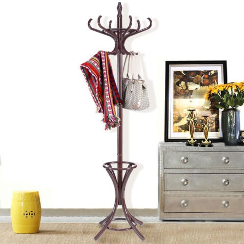 Wood Standing Hat Coat Rack Jacket Bag Hanger Tree 12 Hooks w/ Umbrella Stand - Black Pleated Table Lamp