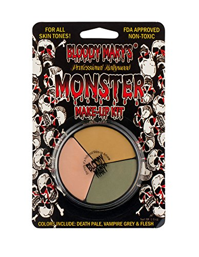 Tri Color Wheel Monster Makeup Cream - Death Pale, Flesh and Vampire Gray For Theater, Costume or Halloween Zombie and Monster Dress Up - 1.3oz. - By Bloody (Halloween Zombie Face Paint)