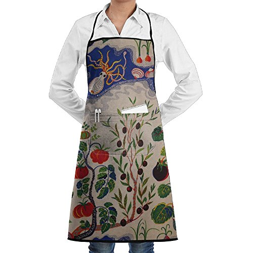 Eggplant Tomato Fish Crawfish Apron Lace Adult Mens Womens Chef Adjustable Polyester Long Full Black Cooking Kitchen Aprons Bib With Pockets For Restaurant Baking Crafting Gardening BBQ ()